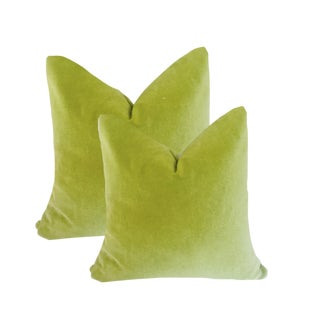 Custom Robert Allen Apple Green Soft Washable Pillows - a Pair For Sale