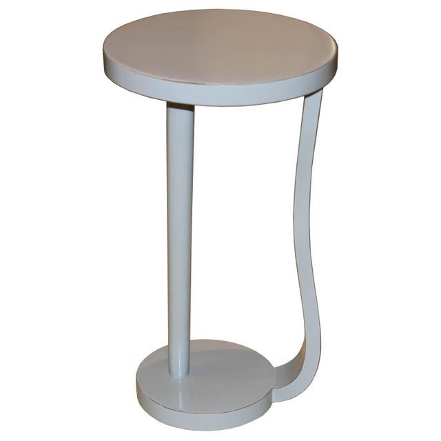 Wood Contemporary Round Gray Cocktail Table For Sale - Image 7 of 7