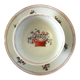 Antique 18th Century Chinese Export Porcelain Famille Rose Flower Basket Teacup and Saucer For Sale