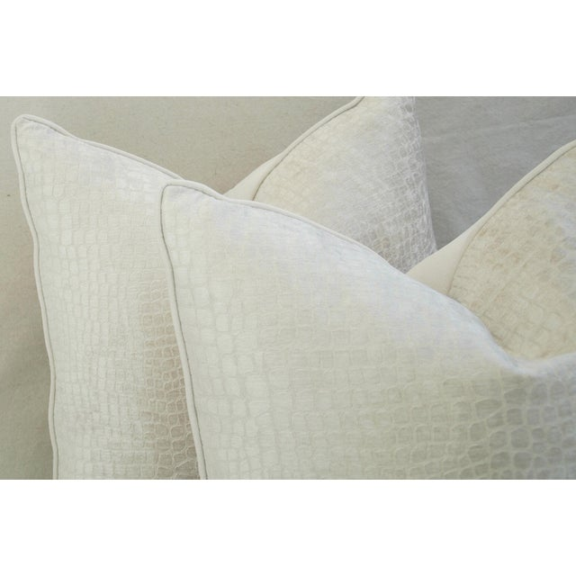 "Boho Chic Bone White Crocodile Velvet Feather/Down Pillows 24"" Square - Pair For Sale In Los Angeles - Image 6 of 12"