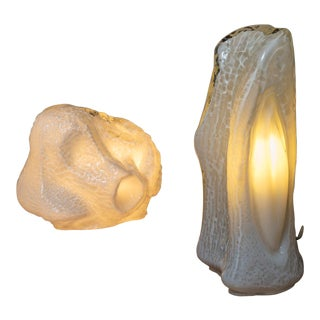 """Pair of """"Osso"""" Murano Glass Table Lamps by Mazzega For Sale"""