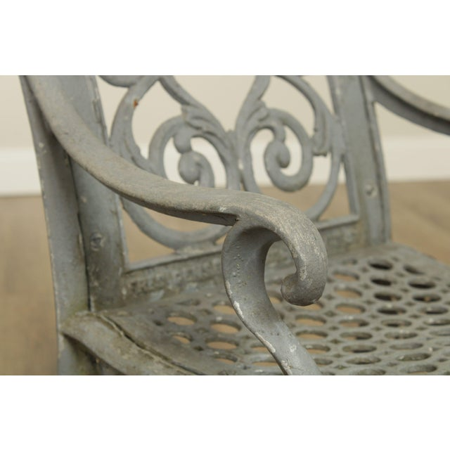 Antique Cast Iron Pair of Garden Cemetery Armchairs, Fred Gensel & Co. For Sale - Image 10 of 13