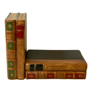 Faux Leather Bookends by Gustin For Sale