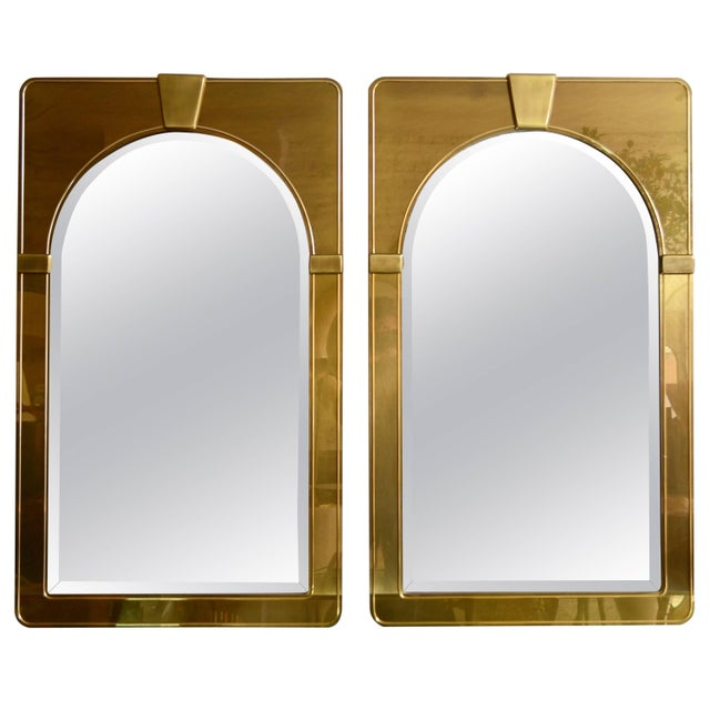 Brass Mastercraft Pair of Brass Mirrors For Sale - Image 7 of 7