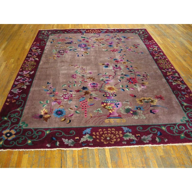 Antique Chinese Art Deco Rug- 8′10″ × 11′8″ For Sale In New York - Image 6 of 7