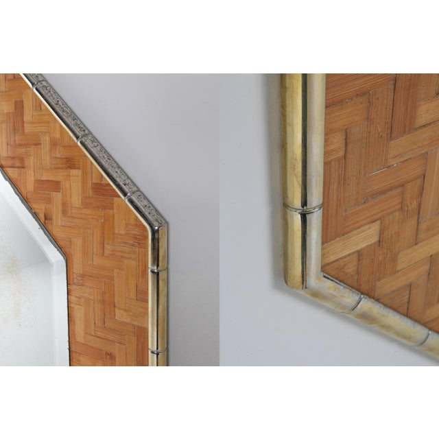 Brass and Bamboo Octagonal Mirror For Sale - Image 6 of 7