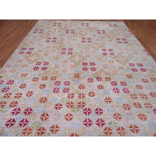 Yellow Surena Hand Knotted Wool Modern Design Area Rug- 10′ × 13′ For Sale - Image 8 of 11