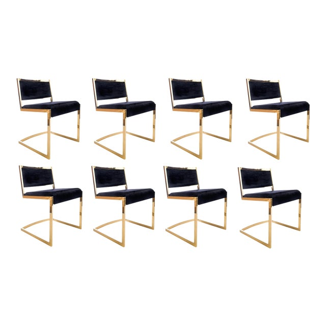Black Bradley Gold and Black Dining Chairs - Set of 8 For Sale - Image 8 of 8