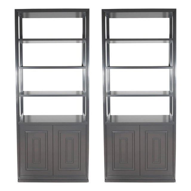 Wood Pair of Custom Bookshelves/Étagères with Cabinets in Lustrous Slate Grey Lacquer For Sale - Image 7 of 7