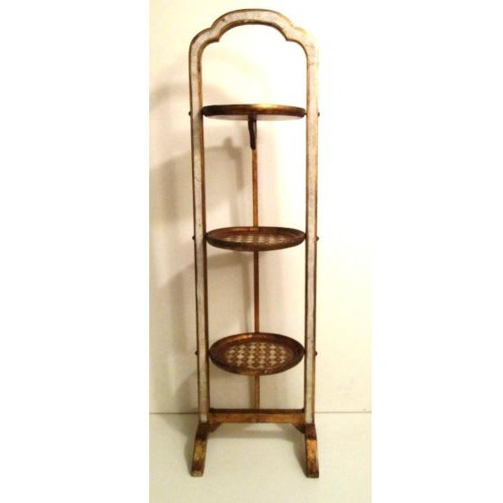 """Hand painted gilt wood convertible table stand with blush accents stands 34&1/2"""" tall X 9&3/4"""" long at feet. Each of the..."""