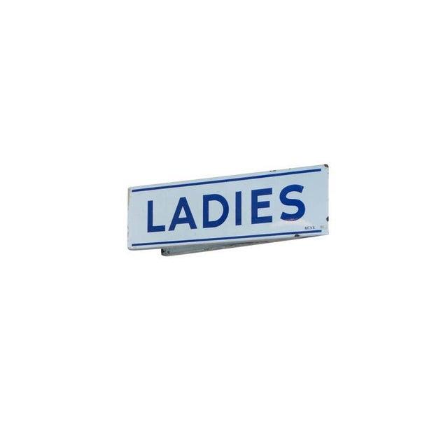 Double Sided Porcelain Enamel Ladies Restroom Sign For Sale - Image 4 of 8