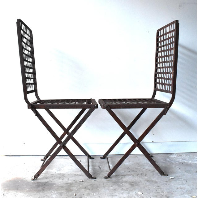 Vintage 1940s Wrought Iron Folding Garden Chairs - a Pair For Sale In San Francisco - Image 6 of 11