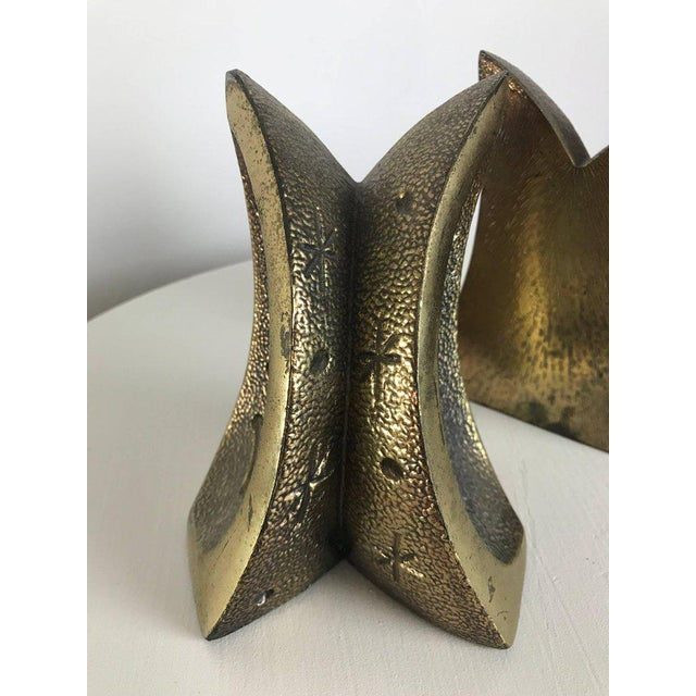 Modernist Brass Sculptural Bookends by Ben Seibel for Jenfredware, Raymor, Pair For Sale - Image 9 of 12