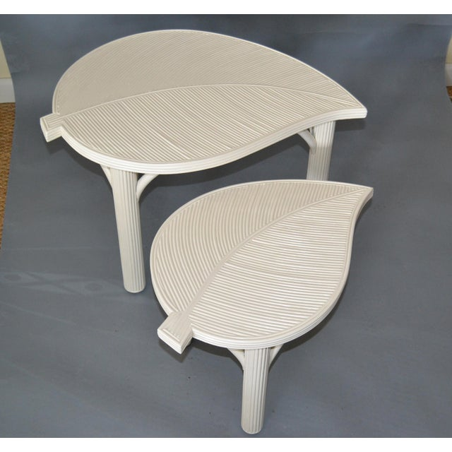 Two Off White or Beige Hollywood Regency decorative Leaf Shaped Bamboo & Pencil Reed Side Tables. Made by Sandtown...