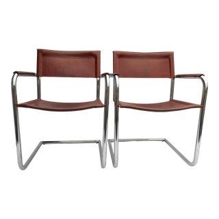 A Pair - 1970s Matteo Grassi Arm Chairs Cognac Leather & Tubular Chrome Cantilever - Tito Agnoli For Sale