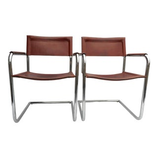 A Pair - 1970s Vintage Matteo Grassi Arm Chairs Cognac Leather & Tubular Chrome Cantilever - Tito Agnoli