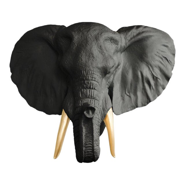 Black & Gold Elephant Head Wall Bust For Sale