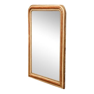 19th Century French Louis Philippe Gold Leaf Mirror With Beads For Sale