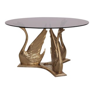 Massive Brass Coffee or Side Table with Swans For Sale