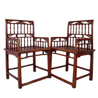 Chinese Antique Southern Official's Hat Armchairs (Set) 4d25 For Sale