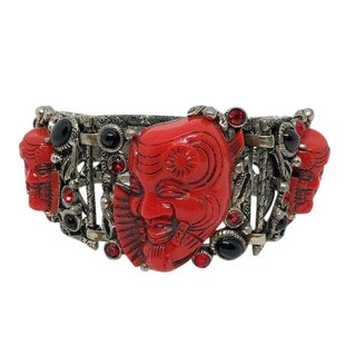 Circa 1950s Selro Red Noh Mask Bracelet For Sale