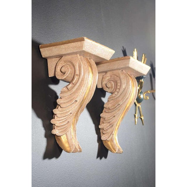 Pair of Architectural Baroque Style Corbels with Hand-Carved Design For Sale - Image 4 of 11