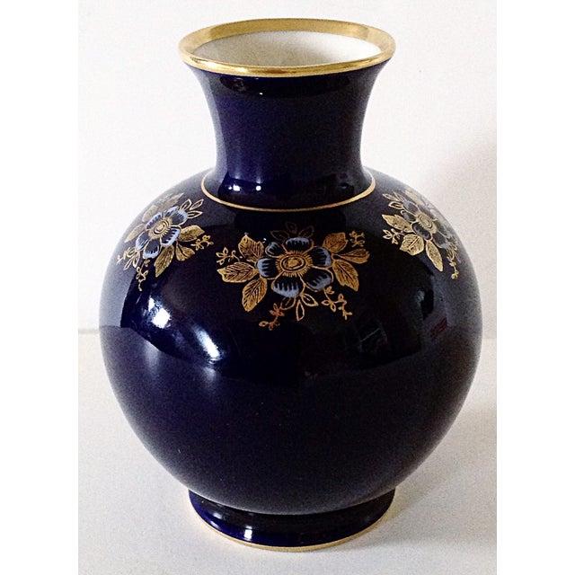 Lindner Bavarian Cobalt Floral Motif Vase - Image 2 of 3