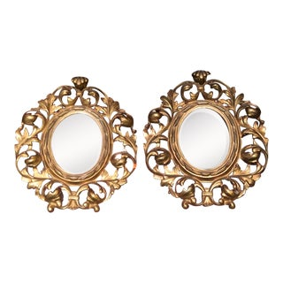 Pair of Antique Gilt Bronze Rococo Miniature Mirrors For Sale
