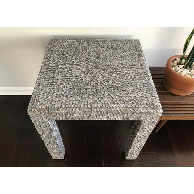 Contemporary Made Goods Vertagus Shell Inlay Parsons Side Table For Sale In Los Angeles - Image 6 of 13