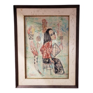 Mid-Century Modern Original Ronarong Thanomtup Artwork For Sale