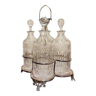 Late 19th Century Victorian Four Decanter Set With Stand - Set of 5 For Sale