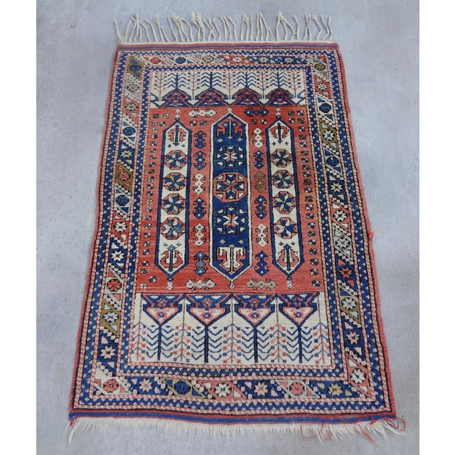 """Vintage Handwoven Peach & Blue Rug - 4'10"""" x 3'2"""" - Image 6 of 7"""