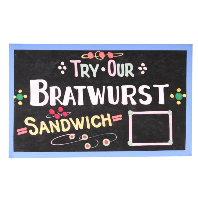 """Try Our Bratwurst Sandwich"" Sign For Sale"