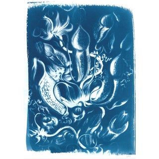 Vintage Floral Scene, Handmade Cyanotype Print on Watercolor Paper. Limited Eition! For Sale
