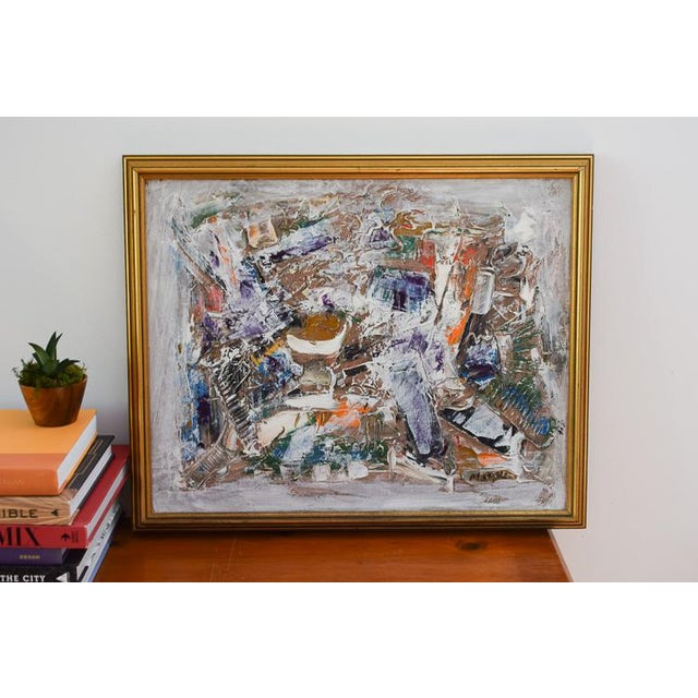 This gorgeous original oil painting has vibrant colors in the most interesting layers and patterns. The pops of orange and...