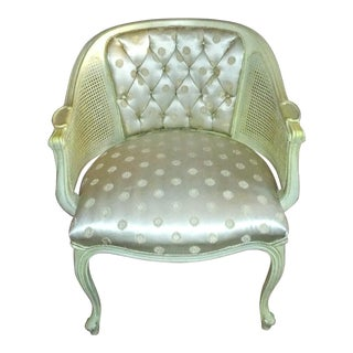 Vintage French Provincial Louis XVI Bergere Chair For Sale