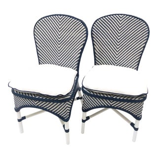 Contemporary Woven All-Weather Bistro Chairs - a Pair For Sale
