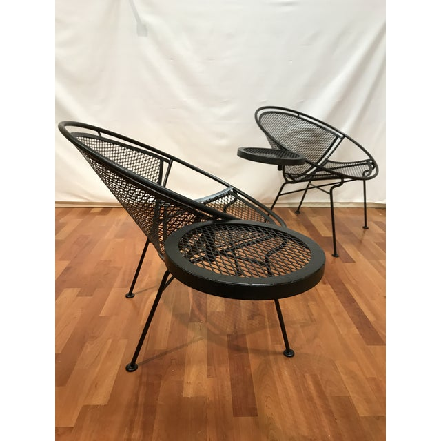 Mid-Century Modern 1950s Salterini Tempestini Radar Space Age Mid-Century Modern Wrought Iron Lounge Patio Chairs- a Pair For Sale - Image 3 of 13