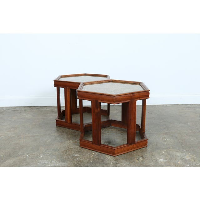Brown Saltman Hexagonal End Tables - A Pair - Image 3 of 10