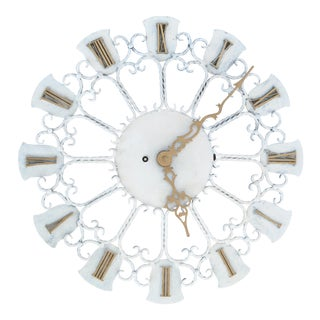European Roman Numeral Iron Wall Clock For Sale