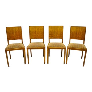 1940s Antique French Art Deco Mahogany Inlaid Dining Room Side Chairs- Set of 4 For Sale