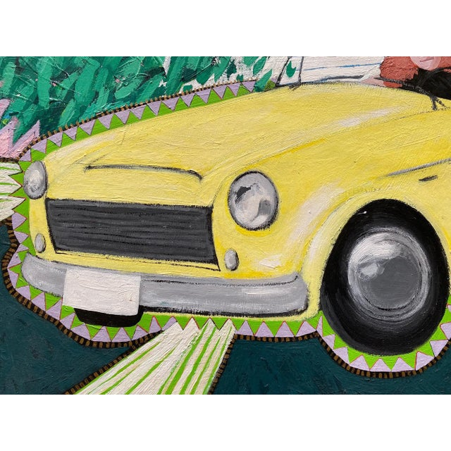 """Postmodern 1980s """"Cool Couple in a Yellow Drop Top"""" Postmodern Style Figurative Painting on Paper and Cardboard by Karen Kilchel, Framed For Sale - Image 3 of 12"""