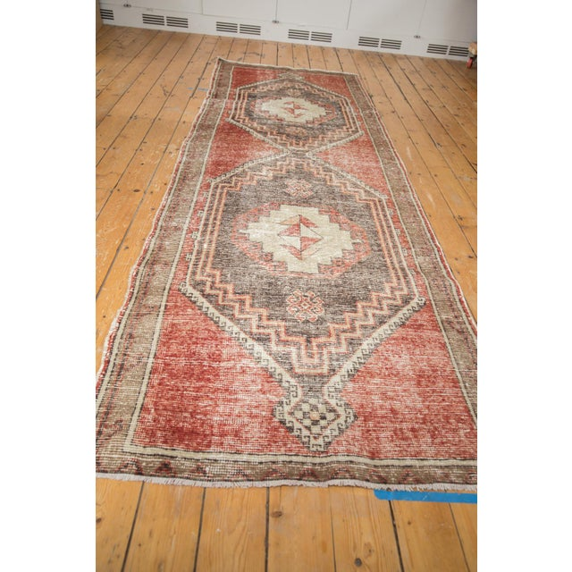 "Vintage Distressed Oushak Rug Runner - 3'9"" X 11'3"" For Sale In New York - Image 6 of 13"