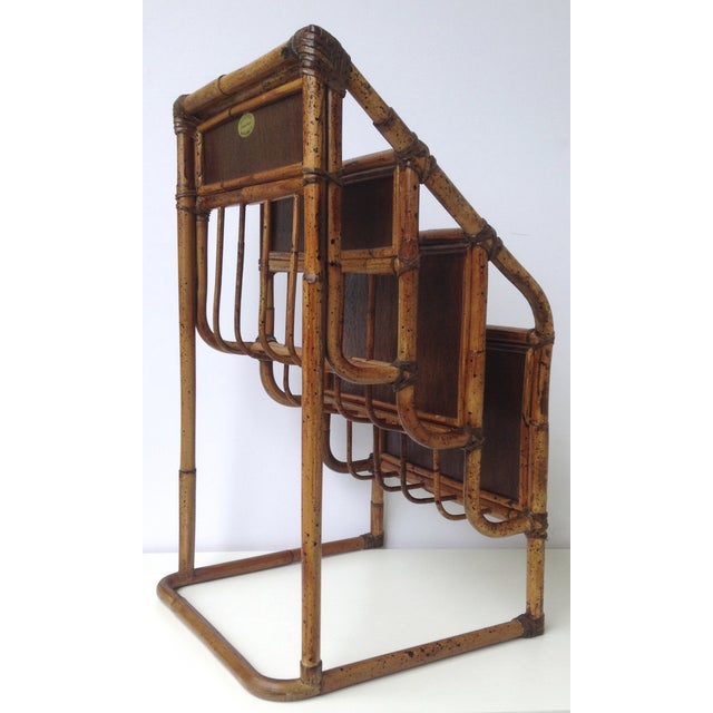Vintage Bamboo Leather-Wrapped Magazine Stand - Image 9 of 11