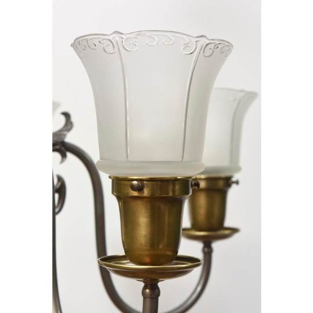 Gold Five Light Pewter and Brass Colonial Revival Chandelier For Sale - Image 8 of 12