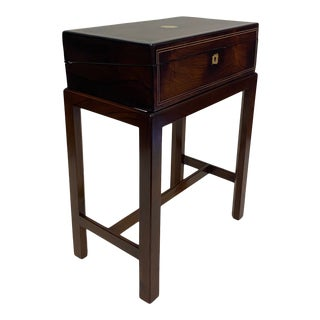 Antique English Lap Desk on Custom Stand For Sale