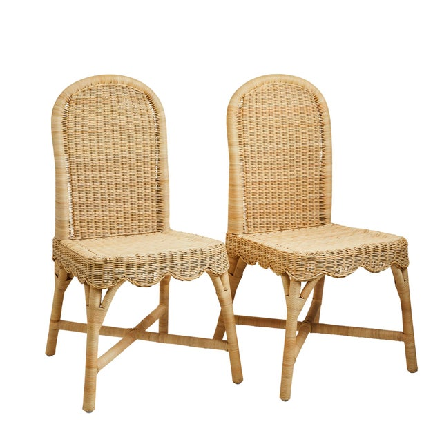 Linton Scalloped Rattan Side Chairs, Set of 2 For Sale - Image 12 of 12