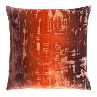 Golden Brown Brushstroke Velvet Pillow