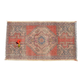 "HandMade Doormat, Entryway Rug, Bath Mat, Kitchen Decor, Small Turkish Rug, 1'9"" X 3' For Sale"