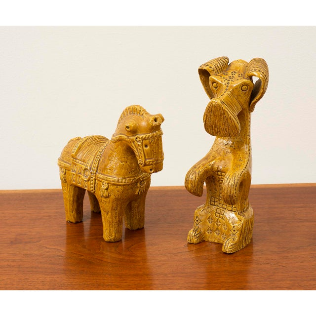 Ceramic Dog and Horse by Aldo Londi in Rare Mustard Glaze for Bitossi, Italy, 1960s For Sale - Image 13 of 13